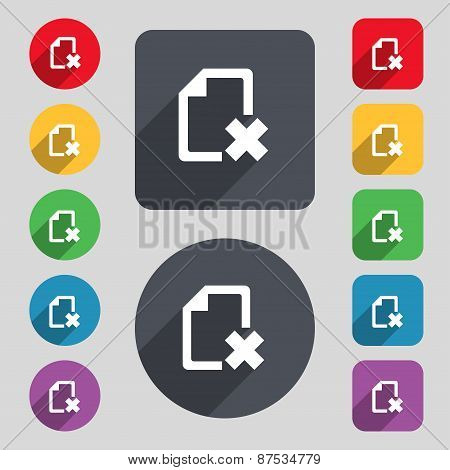 Delete File Document Icon Sign. A Set Of 12 Colored Buttons And A Long Shadow. Flat Design. Vector