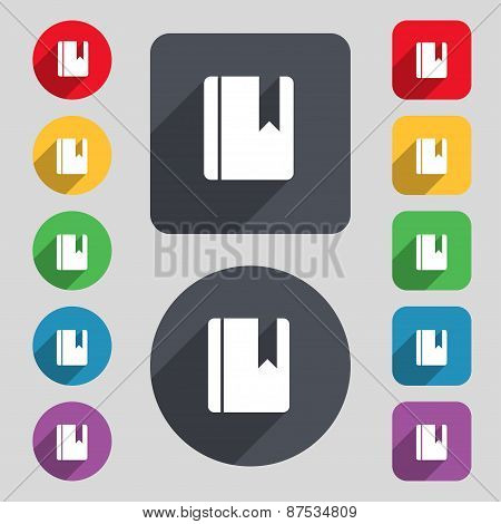 Book Bookmark Icon Sign. A Set Of 12 Colored Buttons And A Long Shadow. Flat Design. Vector