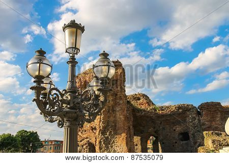 Lantern On A Background Of Ruins An Area Of 20 September In Bologna, Italy