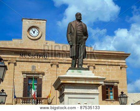 Ignazio Florio Monument Near The City Hall On The Piazza Europa In Favignana, Sicily