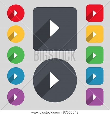 Play Button Icon Sign. A Set Of 12 Colored Buttons And A Long Shadow. Flat Design. Vector