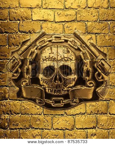Skull, Golden Guns And Chain On A Background Of Golden Brick Wall