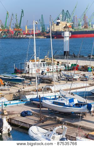 Sailing Yachts And Boats Stand In Port Of Varna, Bulgaria