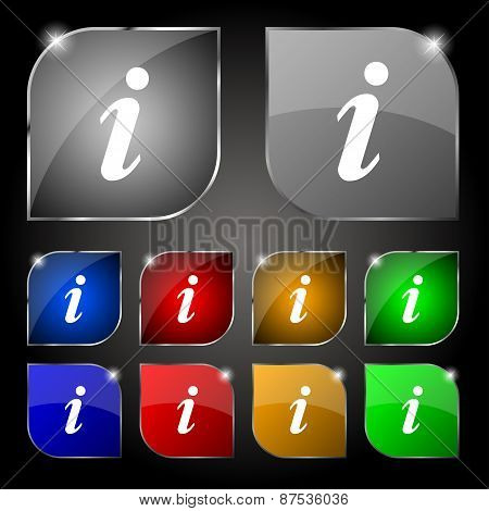 Information, Info Icon Sign. Set Of Ten Colorful Buttons With Glare. Vector