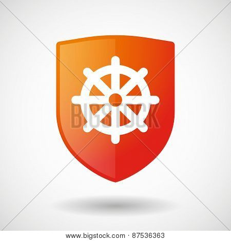 Shield Icon With A Dharma Sign