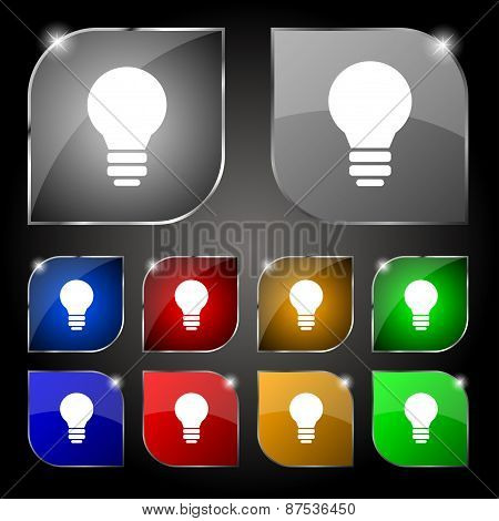 Light Lamp, Idea Icon Sign. Set Of Ten Colorful Buttons With Glare. Vector