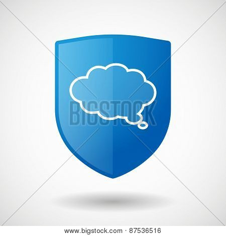 Shield Icon With A Cloud Comic Balloon