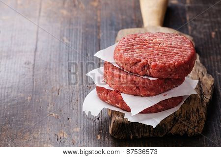 Raw Ground Beef Meat Burger Steak Cutlets On Dark Wooden Background