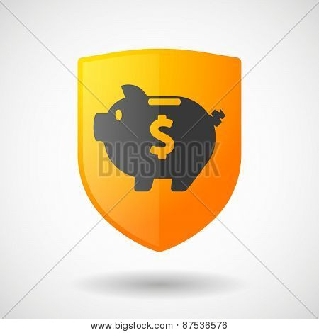 Shield Icon With A Piggy Bank