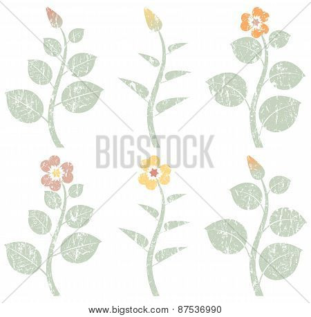 vintage retro abstract flowers, grunge design elements