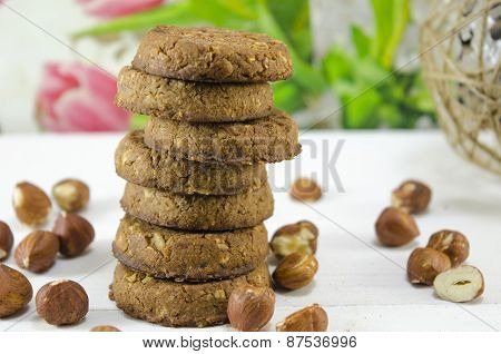 Oatmeal Cookies And Hazelnuts