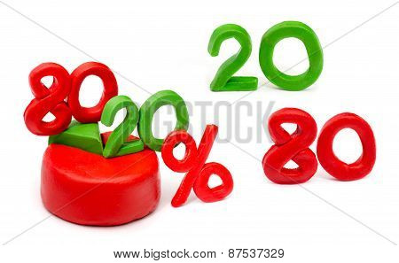 Isolated plasticine chart the Pareto principle