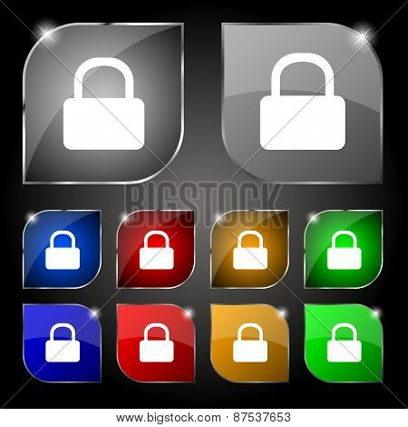 Pad Lock Icon Sign. Set Of Ten Colorful Buttons With Glare. Vector