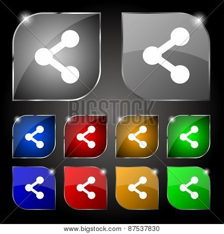 Share Icon Sign. Set Of Ten Colorful Buttons With Glare. Vector