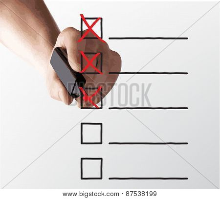 hand drawing check box on a white background