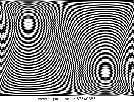 Horizontal Lines / Stripes Pattern Or Background With Wavy, Curving Distortion Effect. Bending, Warp