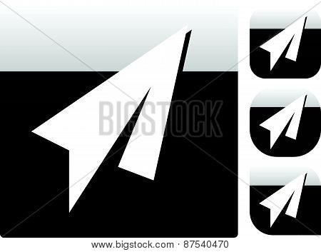 Paper Plane Icons With Different Shapes. (square, Ronded Square, Circle ... ) Reflection With Plain