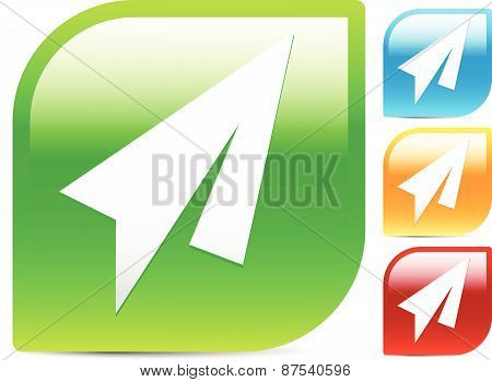 Bright Colorful Icons W/ Paper Plane Symbol