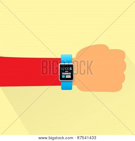Hand Smart Watch Flat Design Shadow Vector