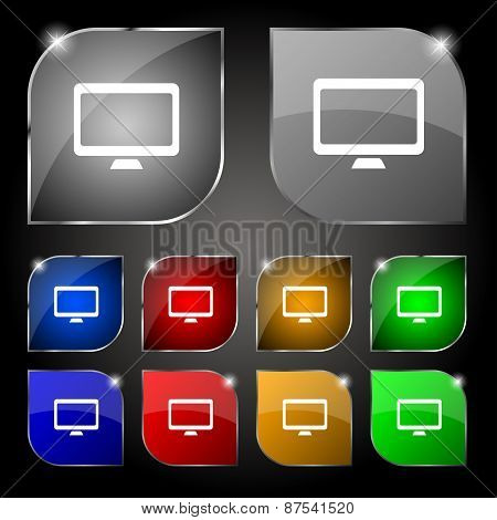 Computer Widescreen Monitor Icon Sign. Set Of Ten Colorful Buttons With Glare. Vector