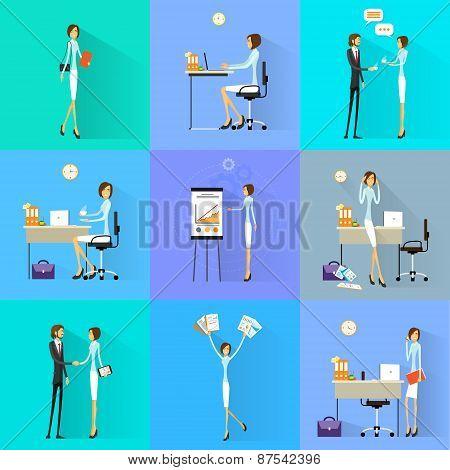 Business woman working set office desk flat design