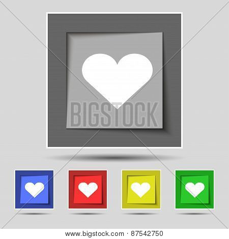 Heart, Love Icon Sign On The Original Five Colored Buttons. Vector
