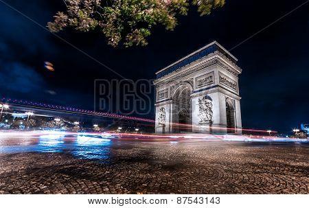 Paris Arc De Triomphe (arch Of Triumph), Night City Lights