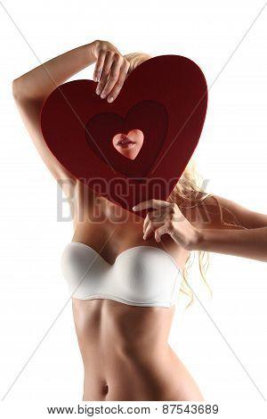 blonde girl in underwear white heart shape