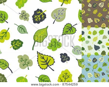 Green leaves seamless pattern set.Stylized falling leaf