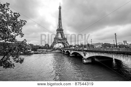 Paris Eiffel Tower landscape. Cityscape In Black And White