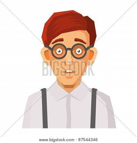Cartoon Style Portrait of Nerd with Glasses and Green Pullover. Vector