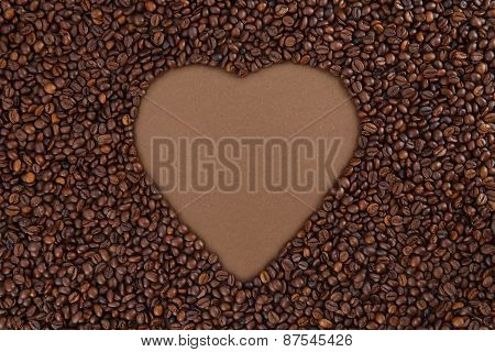 coffee beans with heart form