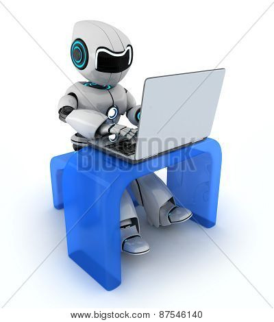 Robot Working On Laptop