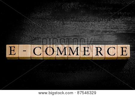 Word E-commerce Isolated On Black Background