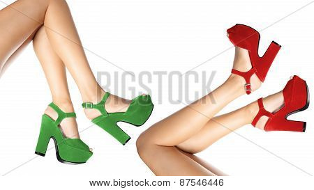 Shoes Worn By Female Legs