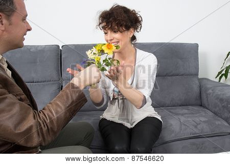 Couple Meeting On A Casual First Date Indoors
