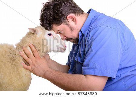 Animal Sheep And Man Arguing
