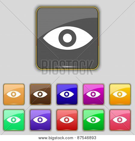 Eye, Publish Content, Sixth Sense, Intuition Icon Sign. Set With Eleven Colored Buttons For Your Sit