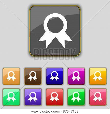 Award, Prize For Winner Icon Sign. Set With Eleven Colored Buttons For Your Site. Vector