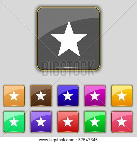 Star, Favorite Icon Sign. Set With Eleven Colored Buttons For Your Site. Vector