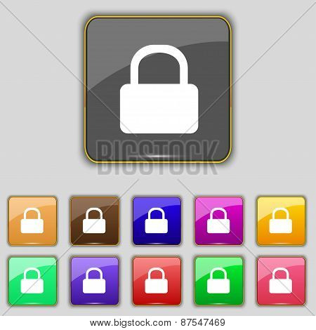 Pad Lock Icon Sign. Set With Eleven Colored Buttons For Your Site. Vector