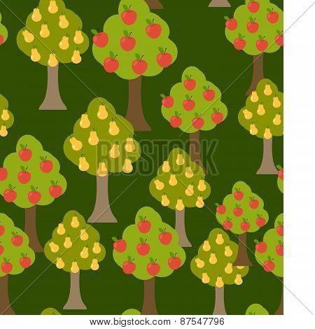 Seamless forest pattern. Cartoon tree.