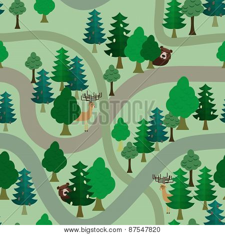 Seamless forest pattern. Cartoon tree background
