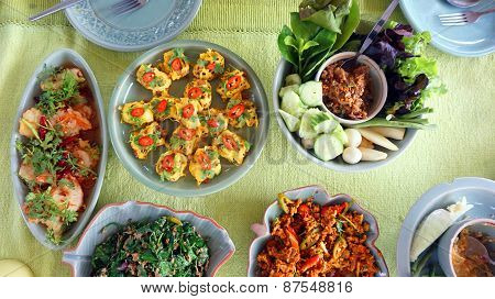 Top View Of Thai Cuisine Dishes, Famous International Food