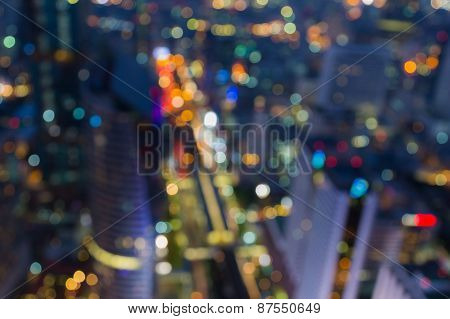 Aerial view of city traffic lights. Blurred bokeh background