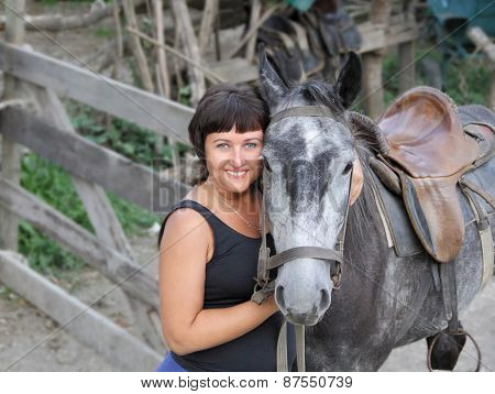 Portrait Happy Smiling Woman With Horse