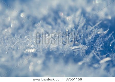 Close Up Of Snow Crystals