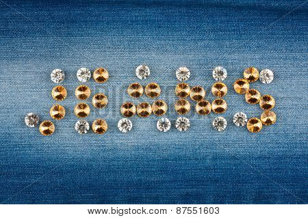 Inscription Jeans Made Of Rhinestones