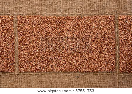 Buckwheat  Grains On Sackcloth, With Place For Your Text