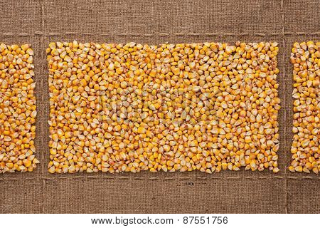 Corn Kernels On Sackcloth, With Place For Your Text